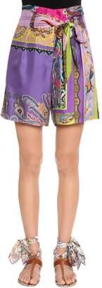 Etro Patchwork Printed Silk Twill Shorts