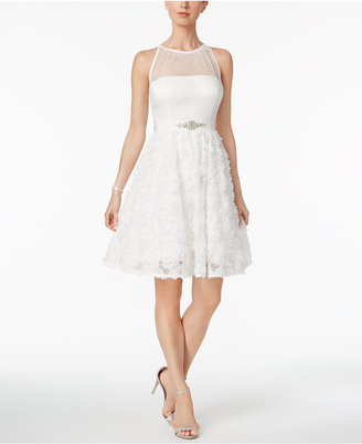 Adrianna Papell Embellished Floral-Applique Dress $219 thestylecure.com