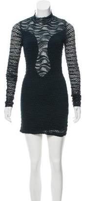 Nightcap Clothing Open-Knit Mini Dress