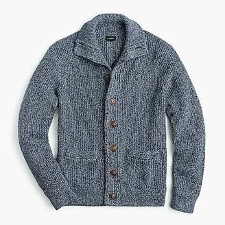 J.Crew Marled cotton mockneck cardigan sweater