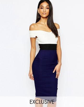Vesper Bardot Midi Pencil Dress $88 thestylecure.com