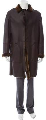 Giorgio Armani Leather Shearling Coat