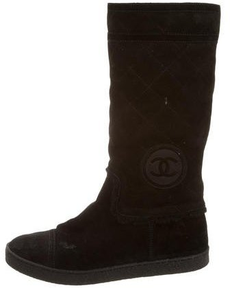 Chanel Suede Mid-Calf Boots
