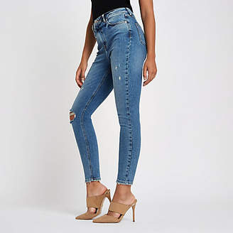 River Island Mid blue Original Skinny ripped jeans