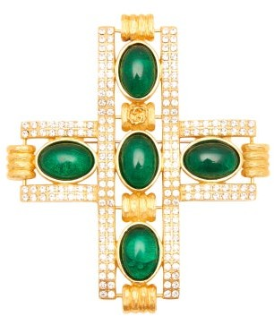 Gucci Crystal Cross Brooch - Womens - Green