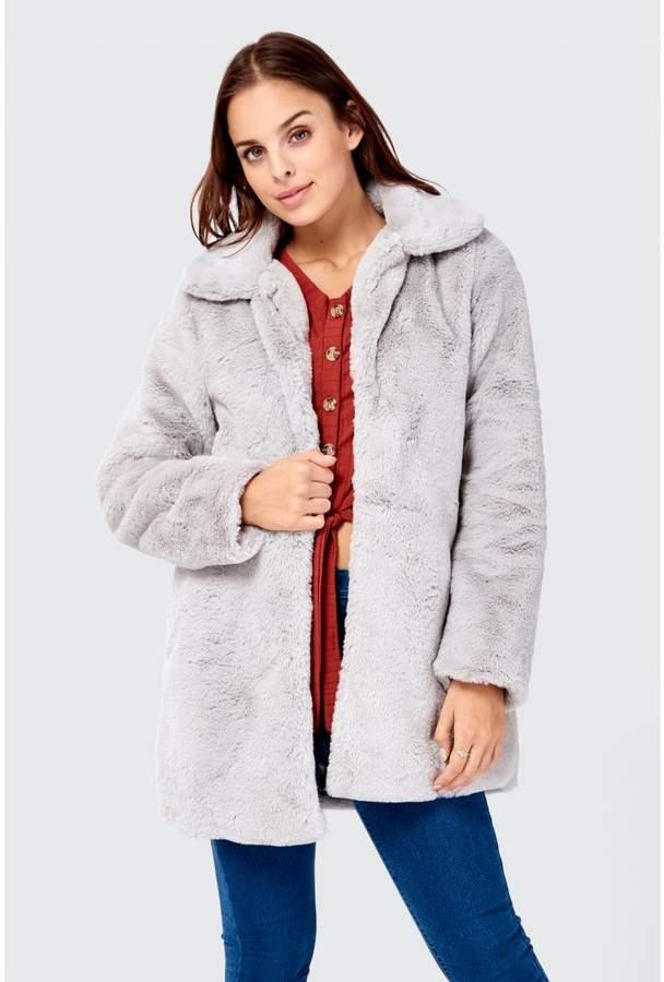 Teddy Fur Detail Longline Coat