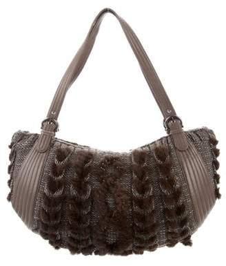 Salvatore Ferragamo Leather & Wool Shoulder Bag