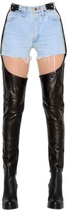 Vintage Denim Shorts & Leather Chaps