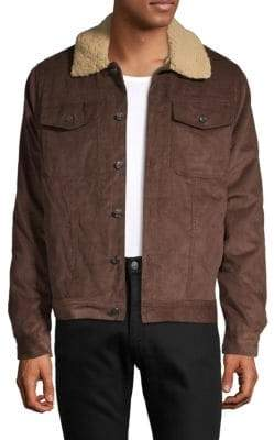 Saks Fifth Avenue Sherpa Collared Cotton Trucker Jacket