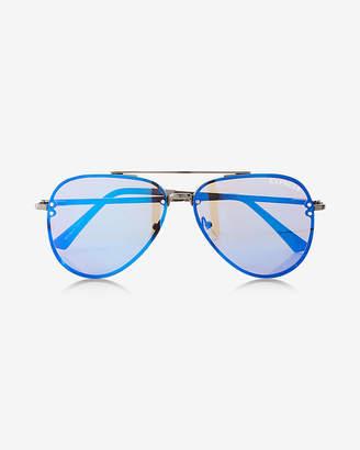 Express Bright Rimless Aviator Sunglasses