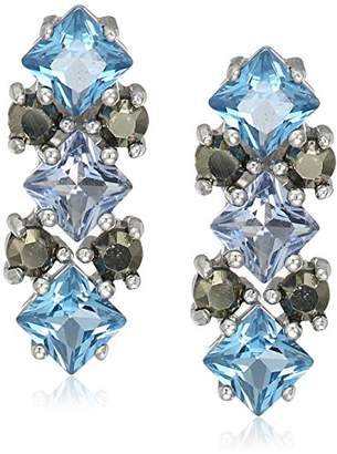 Judith Jack Sterling Silver/Swarovski Marcasite Blue Cluster Stud Earrings $78 thestylecure.com