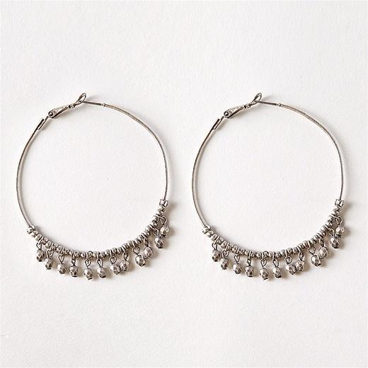 Large Hoops With Metallic Beads