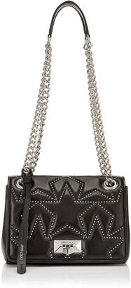 Jimmy Choo HELIA SHOULDER BAG/S Black Nappa Shoulder Bag with Studs and Silver Chain Strap
