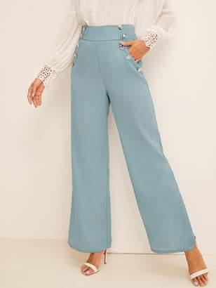 Shein Button Detail Wide Band Waist Wide Leg Pant