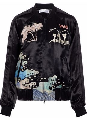 Victoria Beckham Victoria Embroidered Satin Bomber Jacket