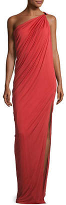 Halston Draped One-Shoulder Gown, Chili