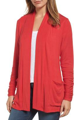 Bobeau Ruched Sleeve Cardigan