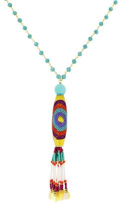 Panacea Crystal Multi Bead Tassel Necklace