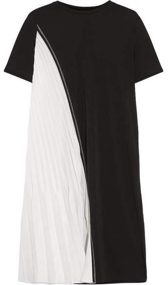 DKNY - Two-tone Stretch-jersey And Plissé Satin Dress - Black