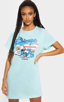 PrettyLittleThing Teal Chicago Slogan Oversized Washed T Shirt Dress