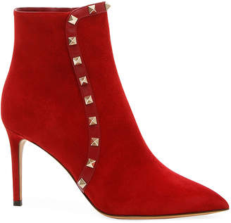 Valentino Rockstud 85mm Suede Pointed-Toe Bootie