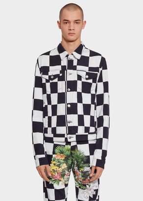 Versace Tropical Checkerboard Denim Jacket