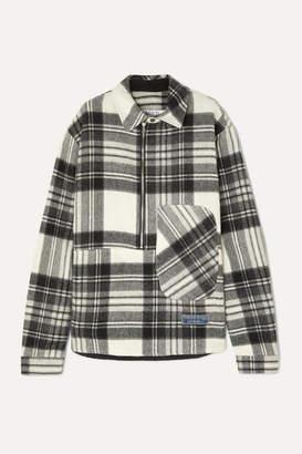 we11done Asymmetric Checked Shetland Wool Shirt - Gray