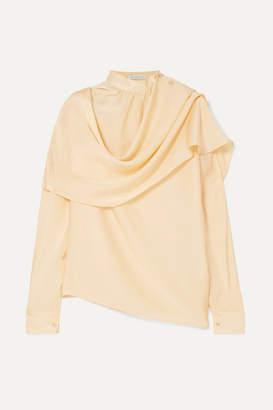 REJINA PYO Ira Draped Silk-satin Blouse - Ivory