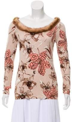 Blumarine Fur-Trimmed Knit Sweater
