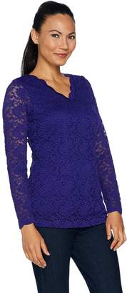 Susan Graver Stretch Lace V-Neck Long Sleeve Top