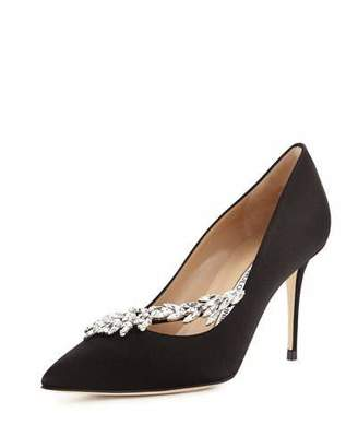Manolo Blahnik Nadira Jeweled Satin 90mm Pump $1,030 thestylecure.com