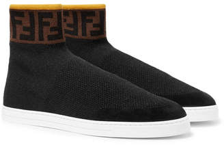 Fendi Logo-Jacquard Suede-Trimmed Stretch-Knit High-Top Sneakers