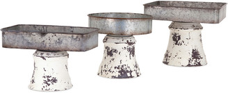 Imax Set Of 3 Peterson Metal Pedestal Trays