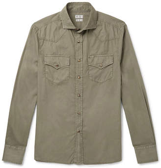 Brunello Cucinelli Cutaway-Collar Cotton Shirt - Green