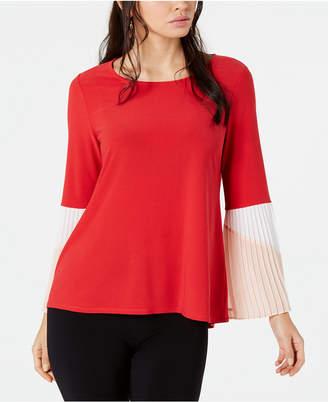 Alfani Colorblocked Pleated-Sleeve Top, Created for Macy's