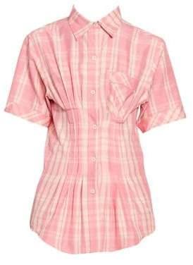 Isabel Marant Women's Emily Gathered Waist Plaid Blouse - Pink - Size 42 (6)