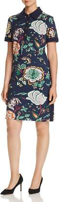 Tory Burch Floral-Print Ponte Polo Dress