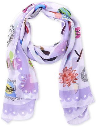 Moschino Cheap & Chic Moschino Cheap And Chic Lilac Printed Silk Scarf