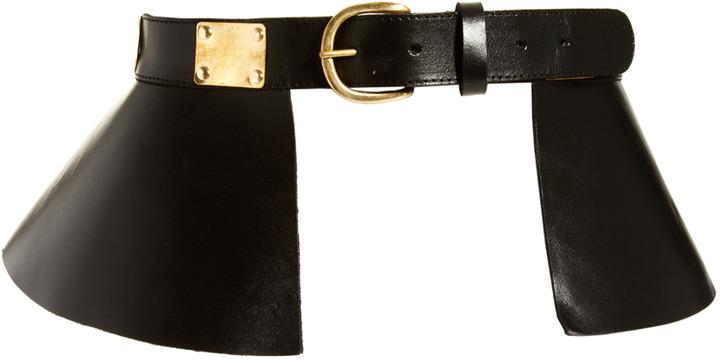 Asos Leather Peplum Skirt Waist Belt With Plate Detail