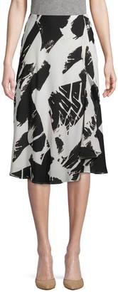 Donna Karan Printed Ruffle Skirt