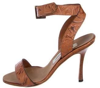 Manolo Blahnik Leather Ankle Strap Pumps