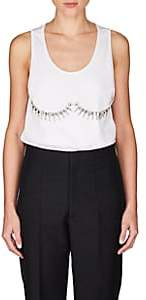 Maison Margiela WOMEN'S EMBELLISHED RIB-KNIT COTTON TANK - WHITE SIZE M