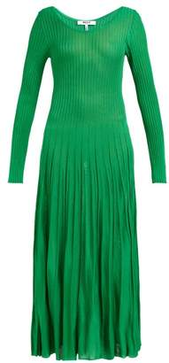 MSGM Ribbed Knit Stretch Jersey Dress - Womens - Green
