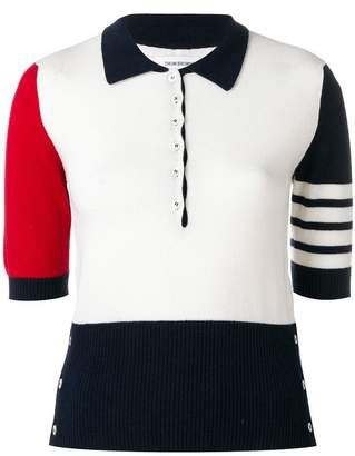 Thom Browne cashmere knit polo top
