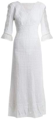 Talitha Collection Edwardian Floral Embroidered Cotton Dress - Womens - White