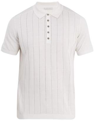 Falke Ess - Striped Silk And Linen Blend Polo Shirt - Mens - White Multi