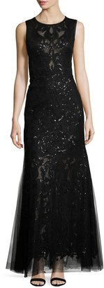 Vera Wang Sleeveless Sequined Trumpet Gown, Black Metallic $269 thestylecure.com