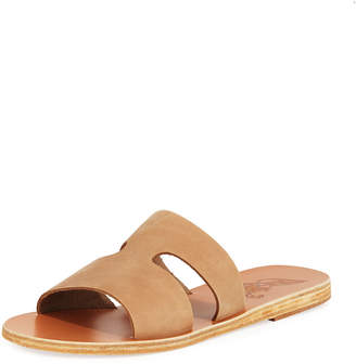 Ancient Greek Sandals Apteros Cutout Nubuck Flat Slide Sandals
