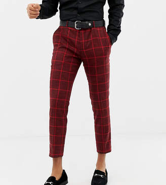 Heart & Dagger skinny cropped smart trousers in red check