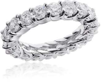 14K White Gold 4.00 Ct Round Brilliant Diamond Eternity Wedding Ring Size 6.5